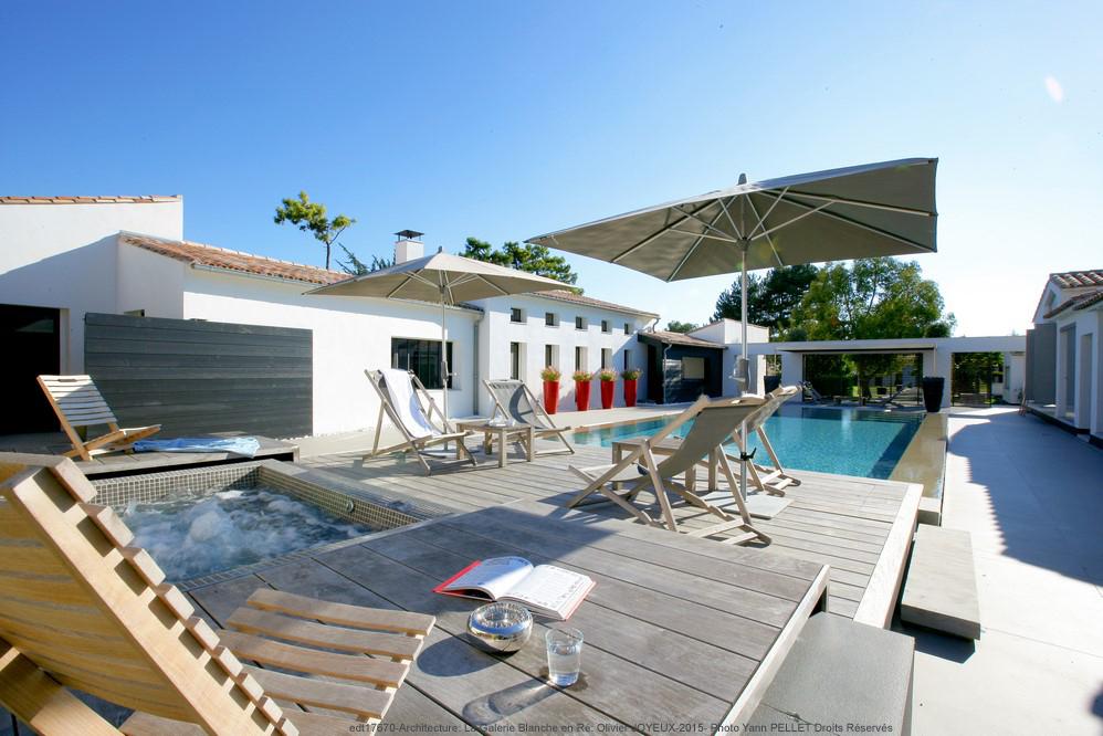 terrasse, maison, piscine
