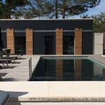 piscine, maison, terrasse