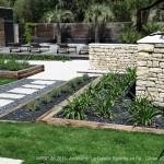 jardin, paysage, terrasse