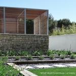 jardin, mur, ombre