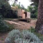 cabane, construction, arbres