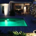 piscine, arbre, lumière