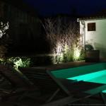 piscine, jardin, nuit
