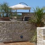 mur, jardin, terrasse