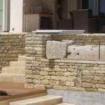 mur, pierre, jardin